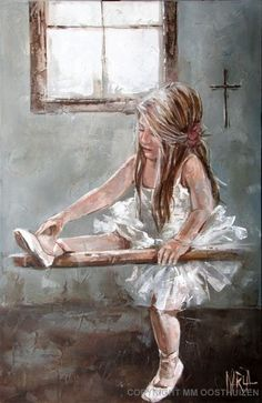 "Painted by Maria Magdalena Oosthuizen - ""Dancing Girl"" ~ such a happy painting, the artist is the same one who painted the girl mailing hearts in the mailbox, pinned below. Description from pinterest.com. I searched for this on bing.com/images"
