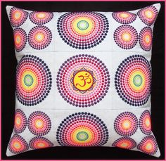 Machine embroidered, psychedelic, trippy, handmade throw pillow cover, cushion cover, Aum, Om, meditation pillow, measures 18in x 18in. by CushionRock on Etsy