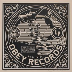 Obey records album Shepard Fairey at DuckDuckGo Illustration Photo, Illustrations, Vinyl Record Shop, Vinyl Records, Badge Design, Label Design, Graphic Design, Shepard Fairey Art, Institute Of Contemporary Art