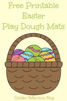 Free printable easter play dough mats for fine motor fun. www.GoldenReflectionsBlog.com