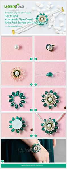 Pandahall Original DIY - How to Make a Handmade Three-strand White Pearl Bracelet with Green Flower from LC.Pandahall.com