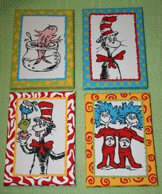 Set of 4 Seuss CAT in the HAT Inspired CHARACTERS Custom Hand Painted Wall Art 5x7. $105.00, via Etsy.