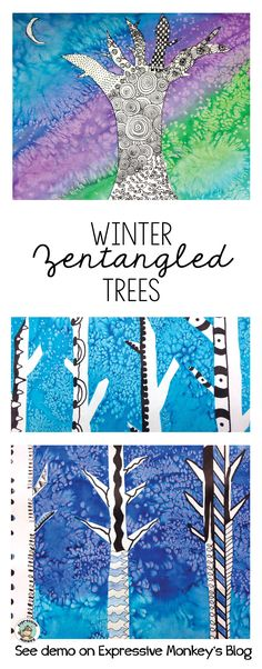 See step by step how to make a dazzling watercolor sky and add zentangles to winter trees. Don't miss the free page of zentangle pattern ideas for your trees in this blog post.