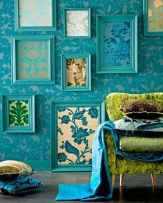This is too much aqua for me, but I like the idea of framing fabric in frames painted the same color to create an interesting wall display.