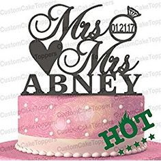 Mrs & Mrs Ring Wood/Acrylic Cake Topper Custom Personalized with Your Last Name and Wedding Date (Multiple Color Optional) Mrs Ring, Ring Cake, Acrylic Cake Topper, Personalized Wedding Cake Toppers, Wedding Cakes, Make It Yourself, Hot, Coupon, Wedding Gown Cakes