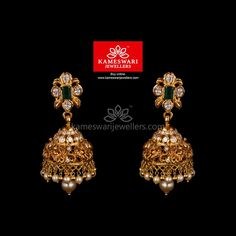 Mesmerizing collection of gold earrings from Kameswari Jewellers. Shop for designer gold earrings, traditional diamond earrings and bridal earrings collections online. Gold Jhumka Earrings, Buy Earrings, Bar Stud Earrings, Jewelry Design Earrings, Gold Earrings Designs, Gold Jewellery Design, Gold Jewelry, Ring Designs, Antic Jewellery