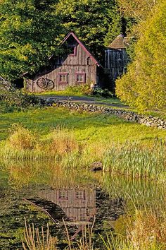 An Old Barn Reflected In The Pond Water (Print) by David Chapman