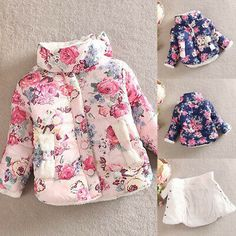 Girls' Clothing (Sizes 4 & Up) Fashion Korean Girls Baby Kids Floral Jacket Winter Thick Warm Coat Outerwear Kids Girls, Baby Kids, Baby Girl Winter, Floral Jacket, Kids Coats, Warm Coat, 6 Years, Outerwear Jackets, Boy Outfits
