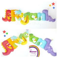 Dinosaur theme felt name banner by The Banner Boutique