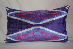 Handmade Double Side Velvet and Ikat Pillow, Silk Velvet Ikat Pillow Cover, 14 x 24, Free Shipment Delivered within 1-3 Days by FEDEX