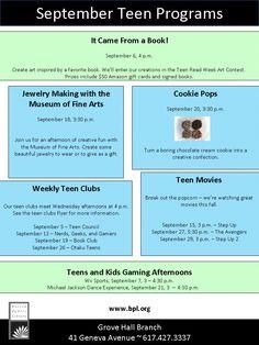 September Library Programs for Teens