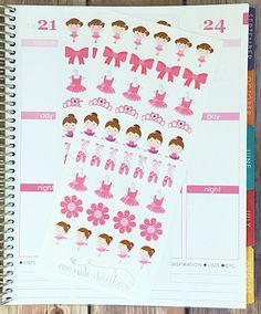 42 Brunette Ballerina Stickers – Perfect for Erin Condren, Plum Paper Planner, Inkwell Press, Filofax, Scrapbooking & More