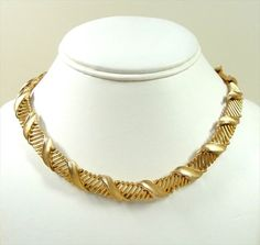 Vintage Trifari Necklace Crown Trifari Choker Necklace Double Clasp from millcovetreasures on Ruby Lane