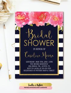 Floral Bridal Shower Invitation in navy and white stripes with pink & gold watercolor florals. This wedding shower invitation is also available in black and white stripes.