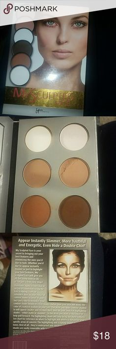 It Cosmetics ☆ My Sculpted Face Powder contour kit for medium shades.  Comes with one shimmer, one highlight, two normal colors, and two contour bronze colors.  I dropped it, so on one of the normal colors .. you'll see it in the pic. it cosmetics Makeup Face Powder
