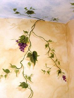 porch paint ideas Grapevines: Handpainted Accents & Murals - Haven Artistry ~ my dining room :) Faux Painting, Mural Painting, Mural Art, Wall Murals, Wall Art, Middle Eastern Decor, Porch Paint, Folk Art Flowers, Bedroom Murals
