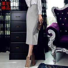 Ван Рубашки Pierre 2015 зима шерстяные юбки пакет бедра толстые шерстяные шаг юбка юбка с разрезом корейских Вентилятор