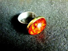 Silver Statement Ring,Sterling Silver Bronze and Amber Ring,Gemstone Womens Ring,Gift for Her,Gift Idea,Amber Jewelry,Artisan Jewelry by ArchipelagosBreeze on Etsy