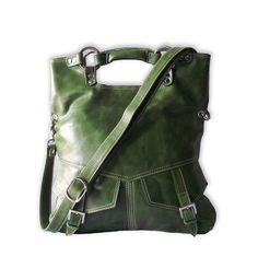 Olive green  leather handbag / shoulder bag / purse / tote / Brook / tftateam