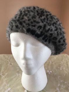 Women Gray Angora Rabbit Fuzzy Beret Leopard Print Winter Snow Glam Holiday Xmas #ABGAccessories #Beret #Everyday