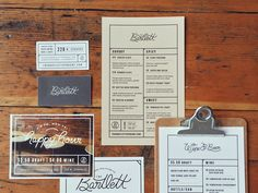 Bartlett Menus and stuff by Karli Ingersoll #branding #restaurant