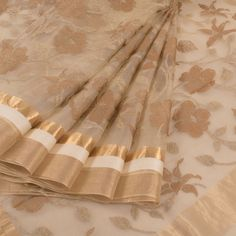 Buy online Embroidered Beige Organza Saree With Zari Border & Floral Motifs 10012676