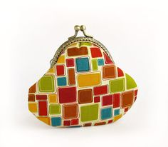 $20.00, Geometric Coin Purse, Colorful Squares with Kisslock