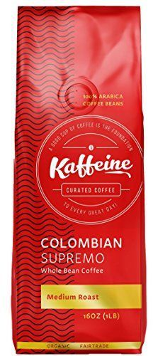 Kaffeine Koffee Organic Roasted Whole Bean Specialty Gourmet Coffee (Columbian Supremo Medium Roast , 1lb) ** Continue to the product at the image link.