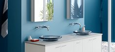 Benjamin Moore and Kohler® Bathroom Inspiration. Wall paint color Blue Hydrangea 2062-60, REGAL® SELECT, MATTE