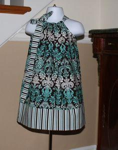 SALE 15.00 girls Pillowcase dress damask Aqua blue chocolate brown white 0 thru 2t, 3t, 4t, 5T. $14.00, via Etsy.