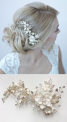 Gorgeous gold bridal comb with ivory flower petals and gold leaves. So beautiful! More