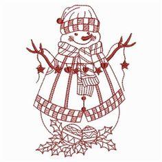 Redwork Snowman 9