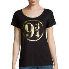 Hogwarts Short-Sleeve Graphic Tee ($13) ❤ liked on Polyvore featuring tops, t-shirts, shirts, short sleeve t shirt, graphic print t shirts, graphic design t shirts, graphic t shirts and scoop neck tee