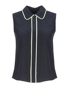 EMPORIO ARMANI Silk top - T-Shirts and Tops | YOOX.COM Emporio Armani, Sportswear Brand, Silk Top, Ideias Fashion, Dark Blue, Tunic Tops, Swimwear, How To Wear, Fashion Design