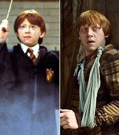 Harry Potter Stars: Then & Now: Rupert Grint as Ron Weasley  Left: In 2001's Harry Potter and the Philosopher's Stone and Right: In 2010's Harry Potter and the Deathly Hallows: Part 1
