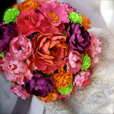 Handmade Paper Flower Wedding Bouquet  by DragonflyExpression - #orange and pink #pantone 2013 #Nectarine