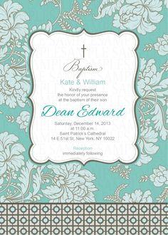Teal and Grey Baptism/Christening Invitation $11