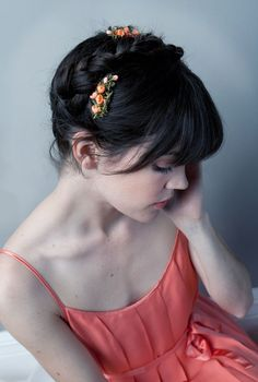 Cherry Blossom Hair Combs and beautiful hair by Alexandra Grecco's Etsy $18