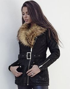Lipsy Love Michelle Keegan Faux Fur Collar Leather Look Biker Jacket
