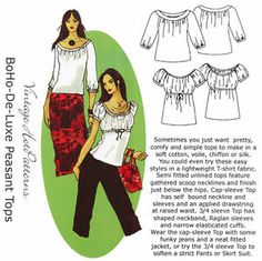 BoHo Deluxe Peasant Tops - 2 Styles - Hot Patterns Sewing Pattern 1043 size 6-26