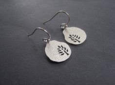 These would look adorable with a new spring outfit! Silver Tree Earrings  Silver Hammered Earrings  Matte by jayval, $23.00