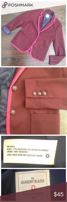 Gap Burgundy & Pink Academy 2 Button Blazer Academy blazer by the Gap. Burgundy with pink trim. Two button closure and 2 front pockets. The buttons are also burgundy, so you can wear this with silver or gold jewelry. Fully lined. Size 0. GAP Jackets & Coats Blazers
