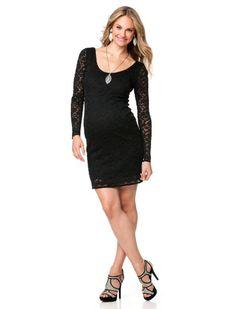 Motherhood Maternity Designer Brands > JESSICA SIMPSON > Jessica Simpson Elbow Sleeve Lace Trim Maternity Dress close up