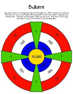 Each player tosses a counter onto the Bullseye Mat from about 2 feet away. Each player gets 6 counters to toss. After, students must write the number they created in expanded, standard, word form. The person with the biggest number wins! Math Place Value, Place Values, Math Stations, Math Centers, Math Resources, Math Activities, Teaching Math, Teaching Ideas, Second Grade Math
