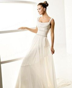 Round Neck Casual Wedding Dresses chiffon gowns
