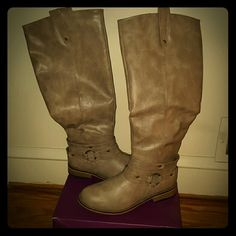 """NWOT Journee Collection knee high boots Taupe pull on knee high boots. 1"""" heel. 16"""" shaft. 17"""" calf circumference. Inside zip closure. Faux leather. Pull tabs. Never worn. journee collection  Shoes Combat & Moto Boots"""