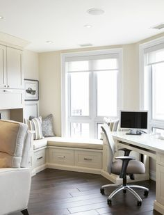 White office with window seat.