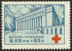 Postage stamp depicting the parliament house of Finland, 1932