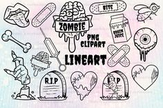 Cute Zombie, Zombie Art, Halloween Illustration, Graphic Illustration, Illustrations, Traditional Tattoo Art, Drawing For Beginners, Bullet Journal Ideas Pages, Pencil Art Drawings