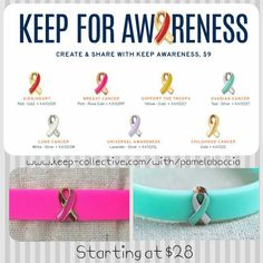 Pair a silicone bracelet with an awareness ribbon and you have an amazing bracelet!  Choose from breast cancer, ovarian camcer, support our troops and more!!